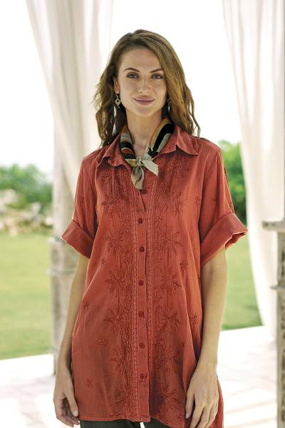 Embroidered cotton long shirt, 'Terracotta Chic' - Embroidered Floral Terracotta Cotton Shirt