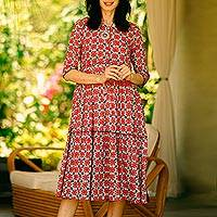 Cotton print dress, 'Modern Tradition' - Tiered Modern Floral Pattern Cotton Dress