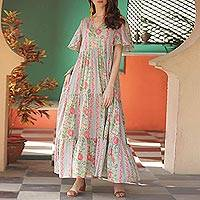 Cotton maxi dress, 'Floral Symphony' - Flutter Sleeve Cotton Maxi Dress from India