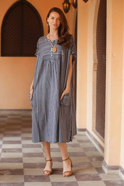 Cotton caftan dress, 'Stripes and Flowers' - Dark and Light Blue Striped Cotton Caftan Dress