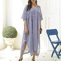 Cotton caftan dress, 'Delhi Stripe' - Relaxed Striped Cotton Caftan Dress