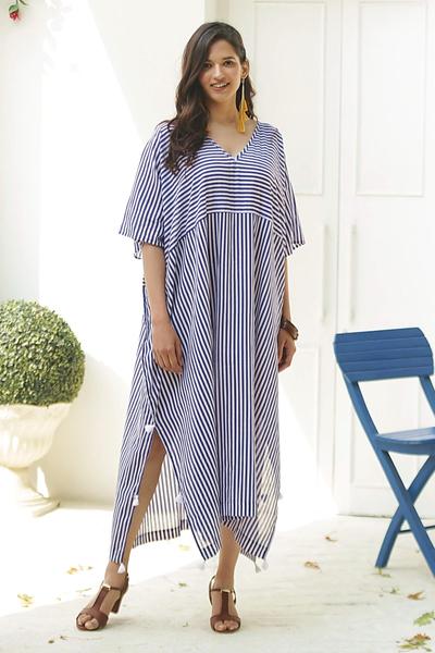 Cotton caftan dress, 'Delhi Stripe' - Relaxed Striped Cotton Caftan Dress