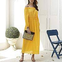 Cotton off-shoulder maxi dress, 'Marigold Muse' - Marigold Yellow Off-Shoulder Maxi Dress