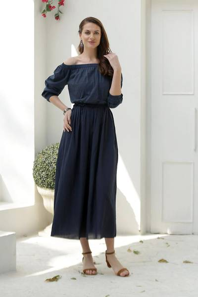 Cotton off-shoulder maxi dress, 'Midnight Muse' - Midnight Blue Cotton Maxi Dress from India