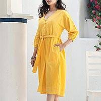 Cotton midi dress, 'Marigold Muse' - Yellow Cotton Tie Waist Midi Dress