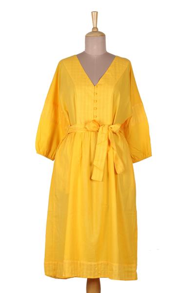 Cotton midi dress, 'Marigold Muse' - Yellow Cotton Empire Waist Midi Dress