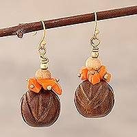 Beaded dangle earrings, 'Delhi Medley' - Beaded Dangle Earrings with Wood, Agate and Brass