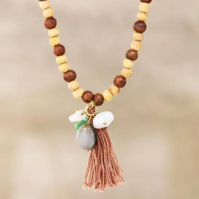 Beaded wood and quartz long pendant necklace, 'Delhi Diversity' - Artisan Crafted Beaded Wood and Quartz Necklace