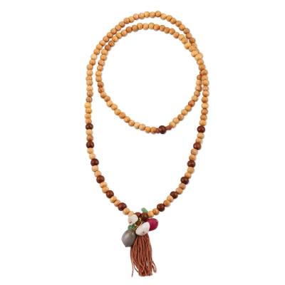 Artisan Crafted Beaded Wood and Quartz Necklace