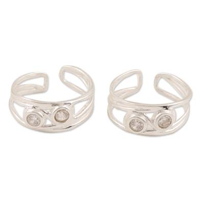 Sterling silver toe rings, 'Cute Sparkle' - Sterling Silver and CZ Toe Rings Crafted in India