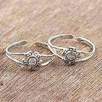 Sterling silver toe rings, 'Gorgeous Blooms' - Floral Design Sterling Silver Toe Rings from India