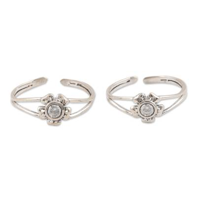 Floral Design Sterling Silver Toe Rings from India