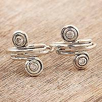 Sterling silver toe rings, 'Swirl Quartet' - Swirl-Shaped Sterling Silver Toe Rings from India