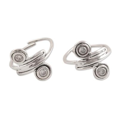Sterling silver toe rings, 'Swirl Quartet' - Swirl-Shaped Sterling Silver Toe Rings from India