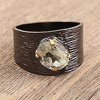 Gold accented prasiolite single-stone ring, 'Sparkle in the Darkness' - Gold Accented Prasiolite Single-Stone Ring from India