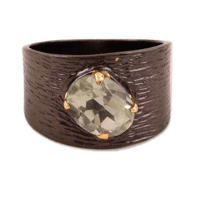 Gold Accented Prasiolite Single-Stone Ring from India