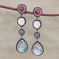 Multi-gemstone dangle earrings, 'Shifting Shades' - Colorful Faceted Multi-Gemstone Dangle Earrings