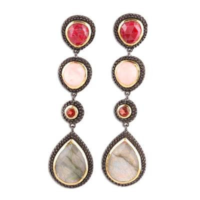 Multi-gemstone dangle earrings, 'Shifting Shades' - Colorful Faceted Multi-Gemstone Dangle Earrings