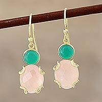 Gold plated onyx and quartz dangle earrings, 'Spring Palette' - Pink and Green Gemstone Earrings in 18k Gold Plated Sterling