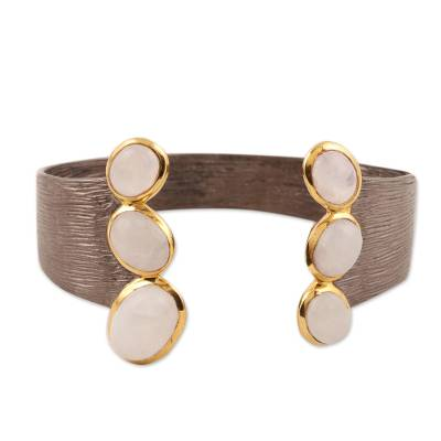 Gold accented rainbow moonstone cuff bracelet, 'Golden Rainbow' - Gold Accented Rainbow Moonstone Cuff Bracelet from India