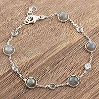 Labradorite and blue topaz station bracelet, 'Majestic Mist' - Labradorite and Blue Topaz Station Bracelet from India