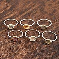 Multi-gemstone single-stone rings, 'Sparkling Sextet' (set of 6) - Multi-Gemstone Single-Stone Rings from India (Set of 6)
