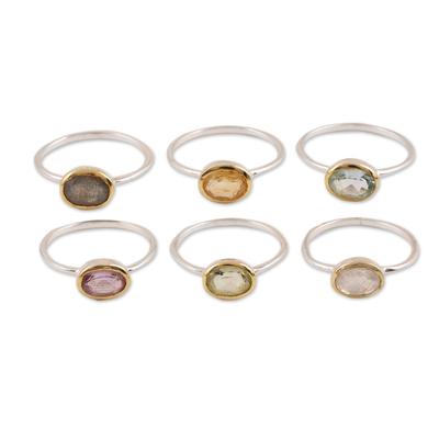 Multi-gemstone single-stone rings, 'Sparkling Sextet' (set of 6) - Multi-Gemstone Single-Stone Rings from India (Set of 6)