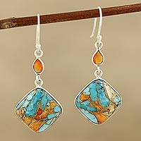 Carnelian dangle earrings, 'Colorful Kites'