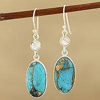 Rainbow moonstone dangle earrings, 'Celestial Light'