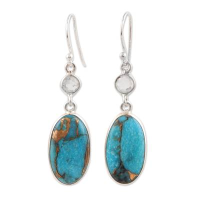 Rainbow moonstone dangle earrings, 'Celestial Light' - Rainbow Moonstone and Composite Turquoise Silver Earrings