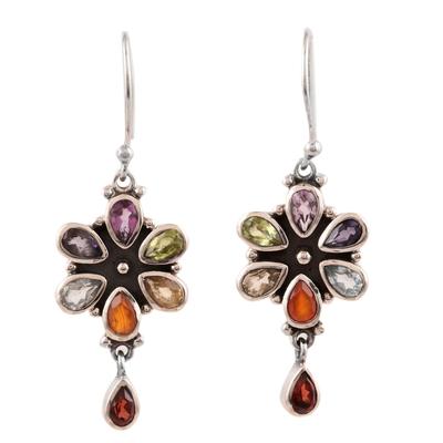 Multi-gemstone dangle earrings, 'Rainbow Bright' - Carnelian and Blue Topaz Sterling Silver Dangle Earrings