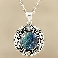 Quartz and rainbow moonstone pendant necklace, 'Deep Blue Beauty'