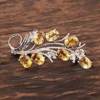 Citrine brooch pin, 'Brilliant Bouquet' - Rhodium Plated Sterling and Citrine Brooch Pin