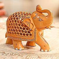 Wood jali sculpture, 'Enchanting Elephant' - Jali Style Wood Elephant Sculpture