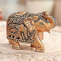 Wood sculpture, 'Regal Golden Elephant' - Golden Elephant Statuette from India