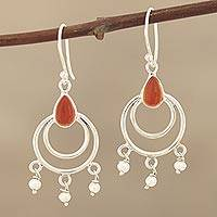 Carnelian and cultured pearl dangle arrings, 'Firelight's Glow'