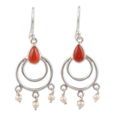 Carnelian and cultured pearl dangle arrings, 'Firelight's Glow' - Sterling Silver, Carnelian and Cultured Pearl Dangle Earring