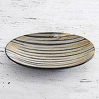 Horn bowl, 'Natural Stripes' - Small Striped Natural Horn Bowl from India