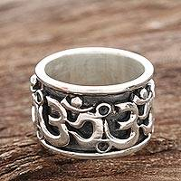 Sterling silver spinner ring, 'Om Fascination'