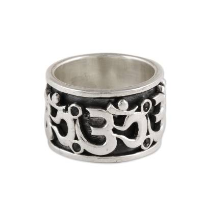 Sterling silver spinner ring, 'Om Fascination' - Sterling Silver Om Spinner Ring from India
