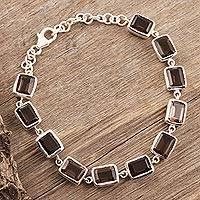 Smoky quartz link bracelet, 'Dark Rectangles'