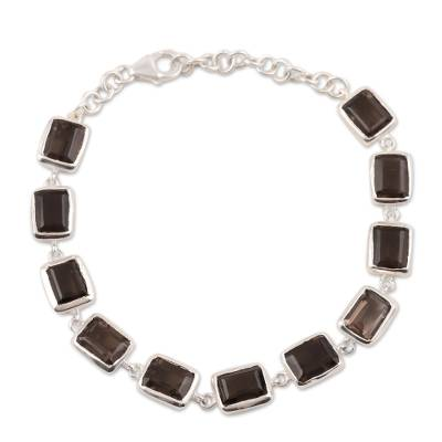 Smoky quartz link bracelet, 'Dark Rectangles' - 16.5-Carat Smoky Quartz Link Bracelet from India