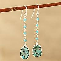 Composite turquoise dangle earrings, 'Raining Drops' - Composite Turquoise Link Dangle Earrings Crafted in India