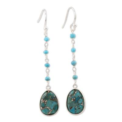 Composite Turquoise Link Dangle Earrings Crafted in India