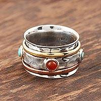 Onyx and reconstituted turquoise spinner ring, 'Glowing Energy' - Red Onyx and Reconstituted Turquoise Spinner Ring from India