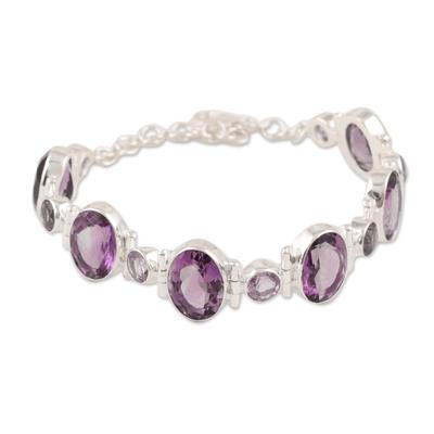Amethyst link bracelet, 'Fabulous Alliance' - 26-Carat Amethyst Link Bracelet Crafted in India