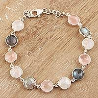 Multi-gemstone link bracelet, 'Soft Round Glitter' - 24-Carat Multi-Gemstone Link Bracelet in Pink from India