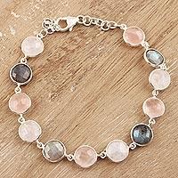 Multi-gemstone link bracelet, 'Soft Round Glitter'