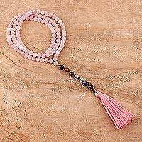 Multi-gemstone long beaded Y-necklace, 'Chakra Serenity' - Long Chakra Necklace with Rose Quartz