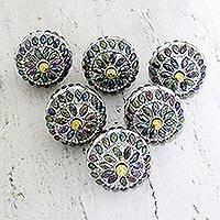 Embellished wood knobs, 'Rainbow Charm' (set of 6) - Iridescent Beaded Wood Drawer Knobs (Set of 6)